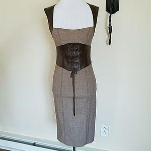Bebe dress, wool/leather